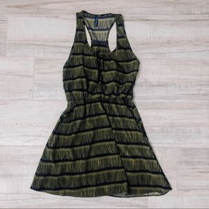 Green and black striped a line casual dress